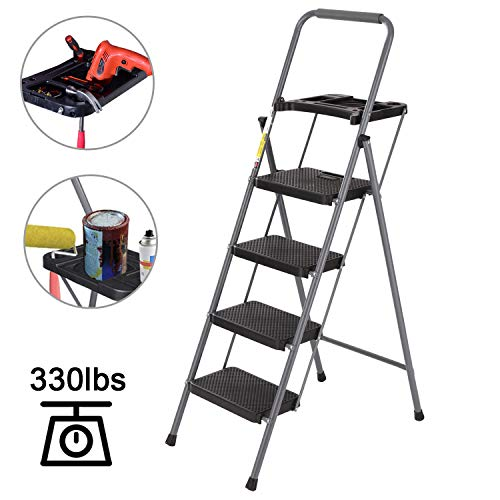 NSdirect 4 Step Ladder,Folding Portable Stool with Tool Platform by Lightweight Steel Include St ...