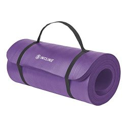 Incline Fit Exercise Mat Ananda 1″ Extra Thick Exercise Mat with Strap – Non Slip Wo ...