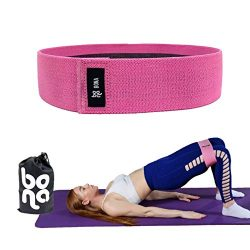 Newbona Resistance Hip Band for Butt and Legs Exercise, Non Slip Workout Bands Set of 3 (Pink Si ...