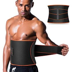 VOHUKO Sauna Waist Trimmer, Wide Men Waist Trainer, Sweat AB Belt with Adjustable Pressure Strap ...