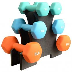 BalanceFrom BF-D358 Dumbbell Set with Stand, 32 lb (Renewed)