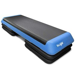 Yes4All Adjustable Aerobic Step Platform with 4 Risers – (Blue)