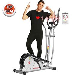ANCHEER Elliptical Machine Trainer Magnetic Smooth Quiet Driven with LCD Monitor and Pulse Rate  ...
