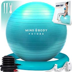 Mind Body Future Exercise Ball & Stability Ring. 55cm Turquoise. Anti-Slip & Anti-Burst  ...