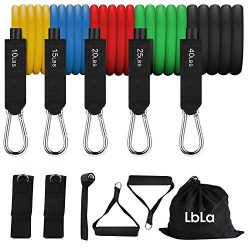LBLA Resistance Bands Set Include 5 Stackable Exercise Bands Handles Door Anchor Ankle Straps an ...