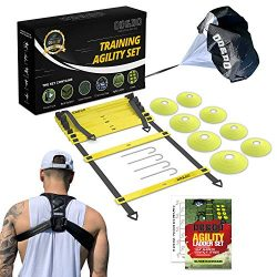 ODDO Agility Ladder Set – Workout Exercise Equipment with Back Support, Cones, Stakes, Car ...
