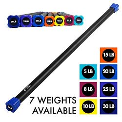 Day 1 Fitness Weighted Workout Bar with Rubber Padding, 48″, 20 LBS – Heavy-Duty, So ...