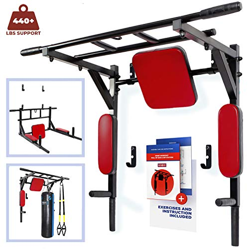Wall Mounted Pull Up Bar and Dip Station with Vertical Knee Raise – Multi-Grip Chin Up Bar ...