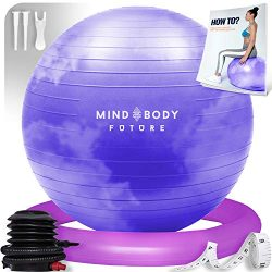 Mind Body Future Exercise Ball & Stability Ring. 65cm Purple Cloud. Anti-Slip & Anti-Bur ...