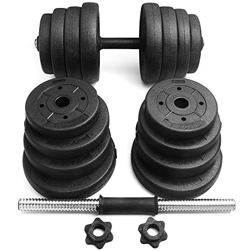 Yaheetech Adjustable 66LB Dumbbell Weight Set Barbell Lifting w/ 4 Spinlock Collars & 2 Conn ...