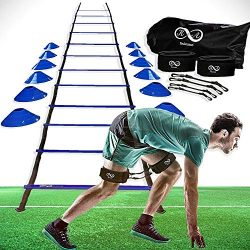 K & A Unlimited Speed and Agility Training Equipment Set – Ladder, Cones, Pegs, Leg Re ...