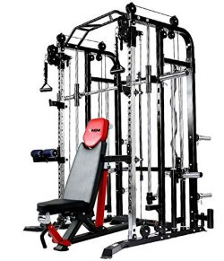 MiM USA Complete Set of Functional Trainer and Smith Machine Combo and Adjustable Bench All in O ...