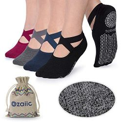Ozaiic Non Slip Grip Socks for Yoga Pilates Barre Fitness, Anti Skid Hospital Labor Delivery Soc ...