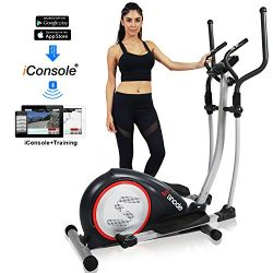 SNODE Magnetic Elliptical Trainer Exercise Machine with Bluetooth App Tracking Option Heavy Duty ...