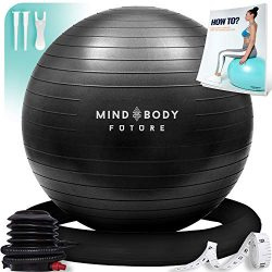 Mind Body Future Exercise Ball & Stability Ring. Anti-Slip & Anti-Burst for Safety. 75cm ...