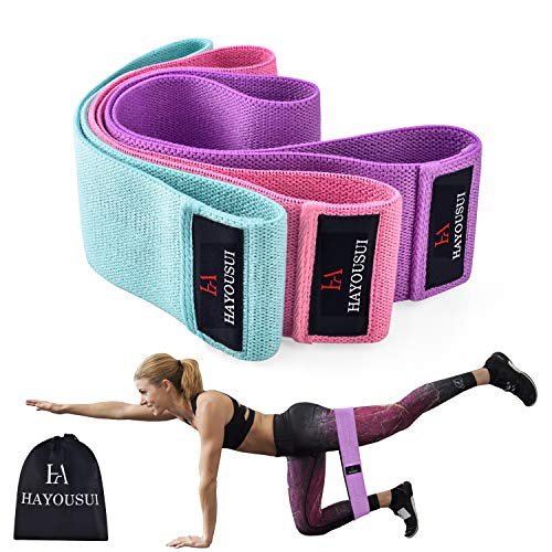 Hayousui Resistance Bands Exercise Bands Hip Booty Bands Stretch Workout Bands- Cotton Resistanc ...