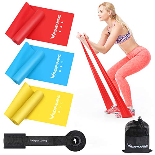 RENRANRING Resistance Band Set,Latex Elastic Exericse Bands with Door Anchor for Upper and Lower ...