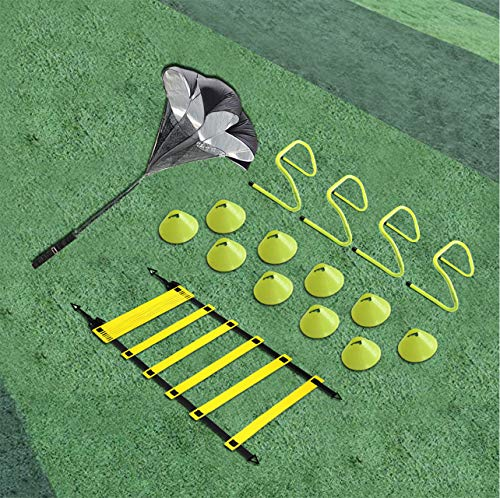 EAZY2HD Speed Agility Training Set- Agility Ladder,12 Cones, 4 Adjustable Hurdles,Parachute|Exer ...