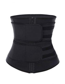 DANALA Women's Waist Cincher Neoprene Zipper Velcro High Compression Waist Trainer Corset  ...