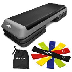 Yes4All Combo Aerobic Step Platform and Resistance Bands with Carry Bag (Set of 5) – Adjus ...