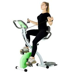 Murtisol Folding Exercise Bike Compact Foldable Stationary Bike Magnetic Resistance Control W/ T ...