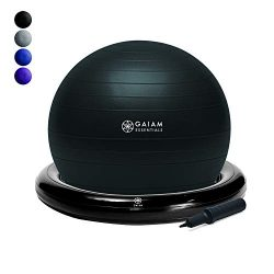 Gaiam Essentials Balance Ball & Base Kit, 65cm Yoga Ball Chair, Exercise Ball with Inflatabl ...
