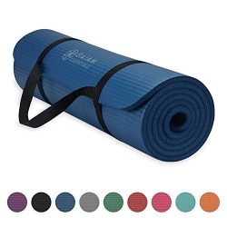 Gaiam Essentials Thick Yoga Mat Fitness & Exercise Mat with Easy-Cinch Yoga Mat Carrier Stra ...