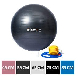Yoga Exercise Ball by Day 1 Fitness 55CM with Foot Pump, Resists up to 2200lbs – Extra-Thi ...