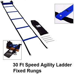 Cintz Speed Agility Ladder- Fixed Rungs,with Ground Anchors and Bag- Multiple Lengths (30 ft Blue)