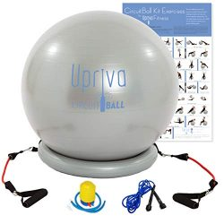 Upriva Stability Ball – Premium Exercise Ball with Resistance Bands Bundle. Home Gym Ball  ...