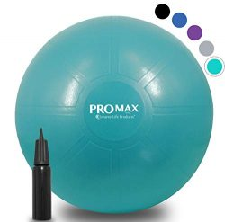 PRO MAX Exercise Ball – Professional Grade Extra Thick Yoga Ball for Balance, Stability, F ...