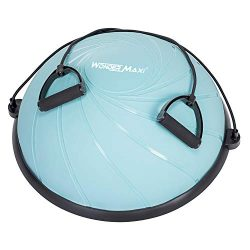 Yoga Balance Trainer Exercise Ball with Resistance Bands, Half Dome Stability Ball Home Fitness  ...