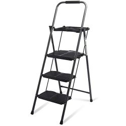 Giantex 3 Step Ladder Folding Ladder Stool with Tool Platform 330 LBS Capacity Space Saving Fold ...