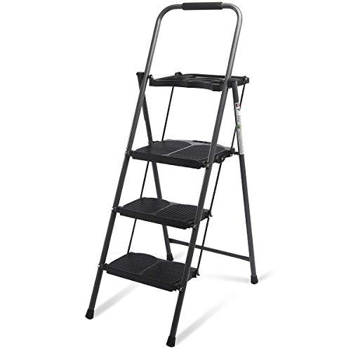 Giantex 3 Step Ladder Folding Ladder Stool with Tool Platform 330 LBS Capacity Space Saving Fold ...