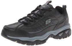 Skechers Men's Energy Afterburn Lace-Up Sneaker,Black/Gray,11 XW US