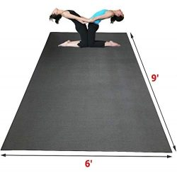 SISYAMA Extra Large Workout Mat 9′ x 6′ x 5mm Group Partner Aerial Yoga Mat Dance Ba ...