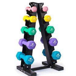 Fitness Alley Neoprene Dumbbells A Frame Rack – Free Weights Hex Hand Weights – Gym  ...