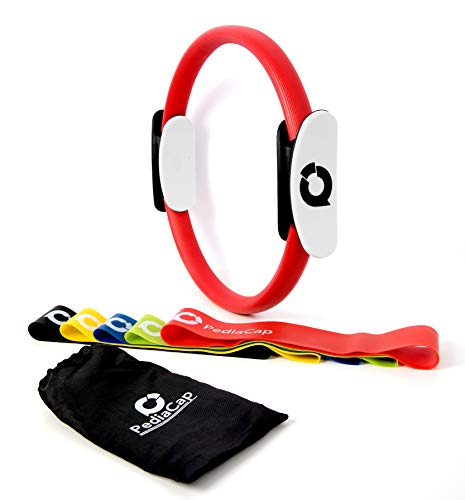Pediacap – Premium Pilates Ring Magic Yoga Fitness Circle and Set of 5 Resistance Loop Exe ...
