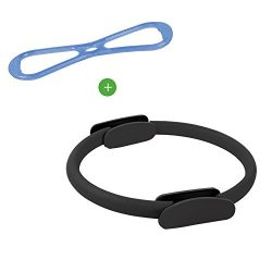 KEVENZ Fitness Circles, with 1 Pilates Ring and 1 Exercise Bands (15 inch, 21 lbs)