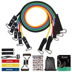 Lintelek 14pcs Resistance Bands Set 5 Stackable Exercise Bands with 3 Resistance Loop Bands, Ela ...