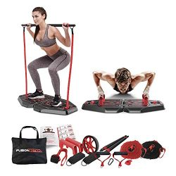 Fusion Motion Portable Gym with 8 Accessories Including Heavy Resistance Bands, Tricep Bar, Ab R ...