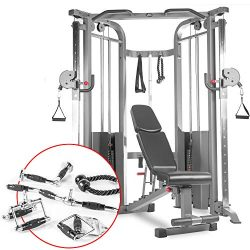 XMark Functional Trainer Cable Machine (XM-7626.1) with an Adjustable Flat Incline Decline Bench ...