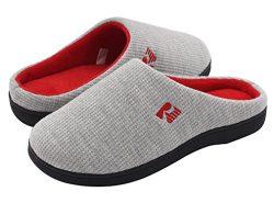 RockDove Women's Original Two-Tone Memory Foam Slipper, Size 9-10 US Women, Gray/Red