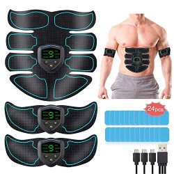BNISE Abs Stimulator Muscle Toner, Rechargeable Abs Stimulator for Men and Women Muscle Sculptin ...