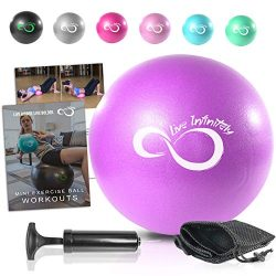 9 Inch Barre Pilates Ball & Hand Pump- Anti Burst Mini Ball & Digital Workout eBook Incl ...