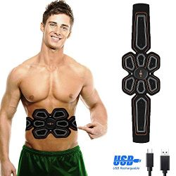 FUSHITON ABS Stimulator Muscle Toner Rechargeable Abdominal Toning Belt,Easy-to-Use Style,EMS Ab ...