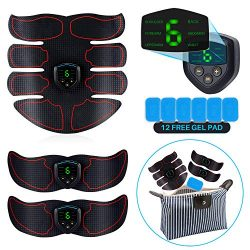 Abs Stimulator, EMS Muscle Trainer, with 12pcs Extra Gel Pad – LCD Display, USB Rechargeab ...