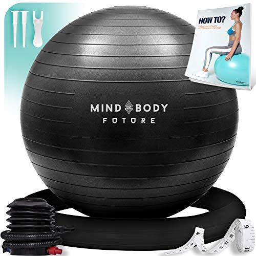 Mind Body Future Exercise Ball Chair & Stability Ring. 65cm Black. Anti-Slip & Anti-Burs ...