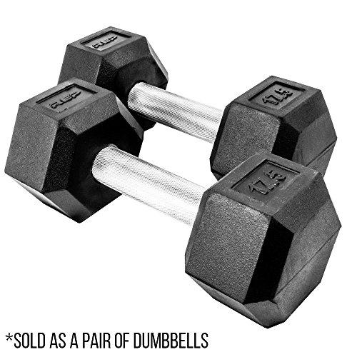 Rep Rubber Hex Dumbbells, 17.5 lb Pair