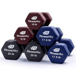 Fitness Alley Neoprene Dumbbell 3 Pairs Set Coated for Non Slip Grip – Hex Dumbbells Weigh ...